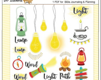 Light DIY Stickers for Bible Journaling, PDF ,  Wordart, Flash Light, Lamp, lanterns, Bulb, Direction Way, Direction. Bonus: Verses