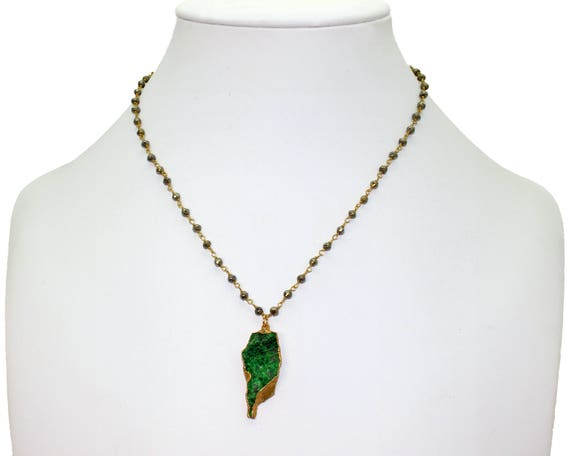 Uvarovite Druzy necklace. One of a kind. OOAK. Rare Green Uvarovite. Gold Dipped, Geode jewelry. Pyrite Chain.