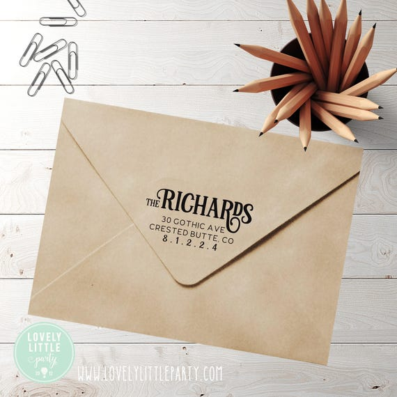 Modern custom return address stamp, self inking stamp or wood handle style 430 - Lovely Little Party