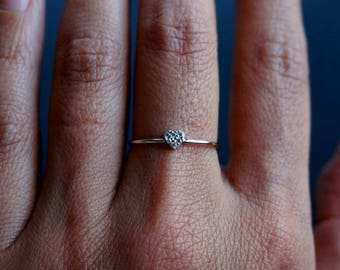 Sterling Silver Heart Ring Stackable Band Ring Delicate Ring