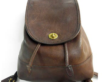 COACH BACKPACK Vintage Chocolate Brown Leather Drawstring Pack from the 1980's