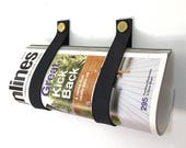 Navy Blue Magazine Straps leather and brass wall mount wine holder and magazine rack