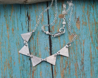 Sterling Silver Triangle Necklace; Fun and Dainty Necklace on a 16, 17, 18, 19 or 20-Inch Sterling Silver Cable Chain, Casual, Woman's Gift