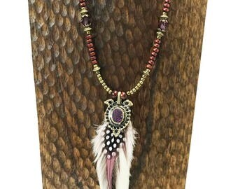 Purple Moon Beaded Feather Necklace