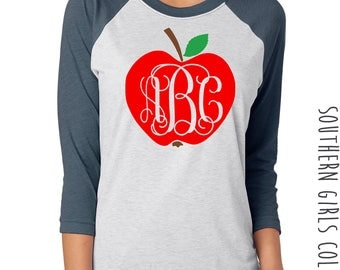 Apple with Monogram Teacher's Raglan Shirt - Monogram Shirt - Teacher Design Raglan - Teacher's Shirt - Teacher Baseball Shirt