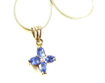 Sterling Necklace Topaz Blue Star Cross Flower Pendant Sweet Petite Icy Blue Hue Lovely Look Gifts For Girls Sweet Sixteen Prom Flower Girl
