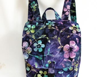 Small backpack- Navy blue, purple, green, fuchsia and yellow floral batik cotton