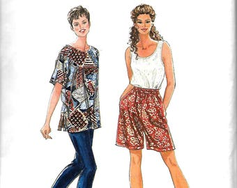 Simplicity 9578 Misses Separates Sewing Pattern, Pullover Short Sleeve Top & Tank Top, Pull-On Pants And Shorts, XS-M, UNCUT
