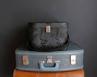 Vintage Wig Case Mod Black Vinyl Faux Beaver By Air Lander Hat Box Luggage Storage