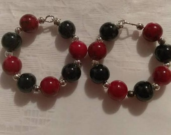 Black/Red 8MM Bead Hoop Earrings