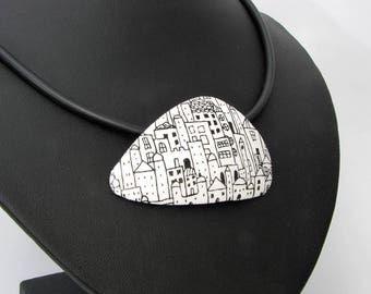 Halskette City  in schwarz, weiß  aus handgefertigten Polymer Clay, Kette  Millefiori, Millefleur,  Fimo