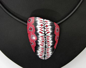 Halskette in schwarz, weiß und rot aus handgefertigten Polymer Clay, Kette  Millefiori, Millefleur,  Fimo