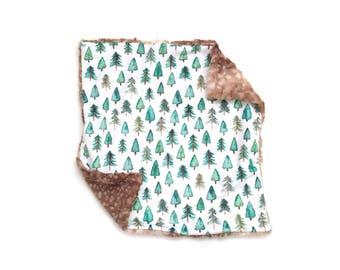 Lovey Evergreen Forest. Lovey. Tree Lovey. Green Lovey. Mini Baby Blanket. Security Blanket. Lovie. Minky Lovey.