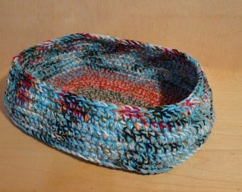 Cat Bed, Cat Bedding, Crocheted Cat Bed, Blue and Red Cat Bed, Pet Bed
