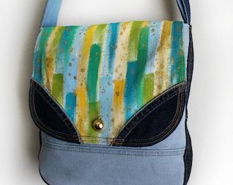 Painted Purse Upcycled Denim Crossbody Messenger Bag Handmade Unique