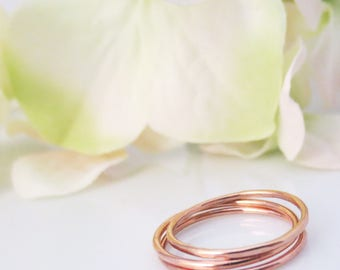 Rose Gold Stacking Rings, Dainty and Delicate, Midi Rings, Hammered, Bridesmaid Gifts, Gifts for Her, Stacked, 14kt Gold Filled Accessories,
