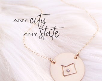 State Necklace, City Crystal, City and State Location, United States Jewelry, Custom, Personalized, Identity, Wedding Gift, Mother's Day