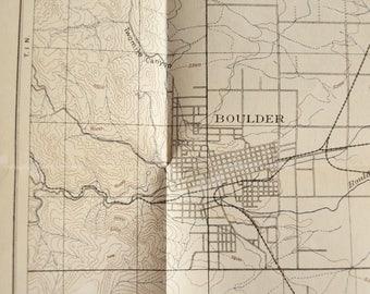 Boulder Colorado topographic map antique 1905 original map US Geological Survey map RARE