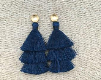 Grace Drop Earrings, Navy Blue Tassel Earrings, Triple Tassel Statement Earrings Brushed Gold Connector,Bridal, Weddings, Holiday, Gifting