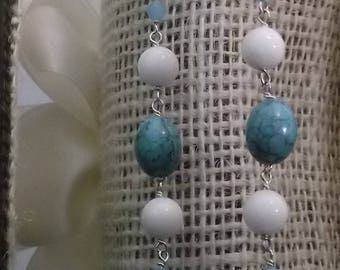 White Jade Aqua Sterling Silver Beaded Necklace Handmade Gift