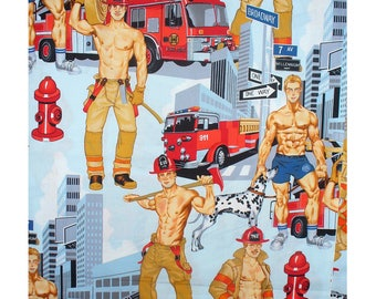 Alexander Henry - Ready For Action - Blue Pinup Firemen Fabric - BTY