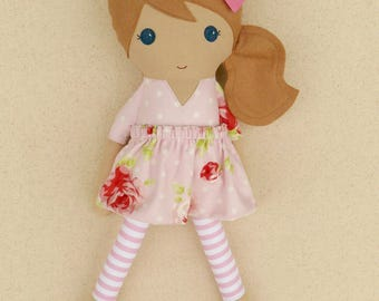Fabric Doll Rag Doll Light Brown Haired Girl Doll in Pink and Red Floral Dress with Striped Leggings