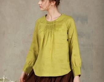 linen tunic, lime green linen blouse, longsleeve linen shirt, linen top, linen kimono, custom made, plus size, women top
