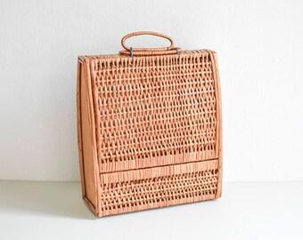 2 Vintage rattan suitcase, wicker suitcase, wicker storage, rattan storage