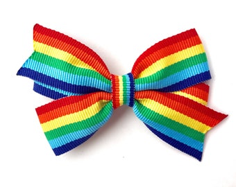 Rainbow hair bow - rainbow bow, rainbow boutique bow, toddler bow, 3 inch bows, girls hair bows, girls bows, rainbow hair bows, hair bows