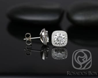 Rosados Box Rheine 6.5mm 14kt White Gold Round F1- Moissanite and Diamonds Cushion WITH Milgrain Halo Stud Earrings