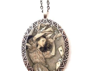 Alice in Wonderland Necklace Pendant Silver Tone - Arthur Rackham Lewis Carroll Book