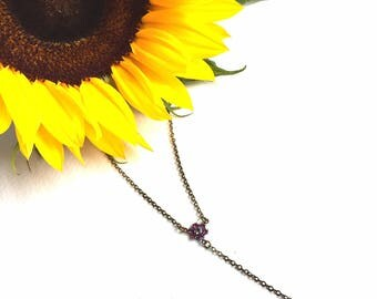 Gorgeous Purple Crystal Y Necklace with Vintage Swarovski Crystals Set in Oxidised Brass Settings