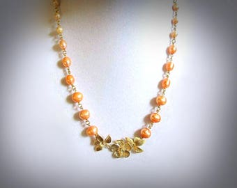 peach pearly necklace freshwater pearl necklace gold flower necklace gold leaf necklace graduated pearl necklace gold pendant necklace