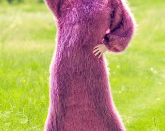 Light and fuzzy purple mohair sweater dress, handmade slouchy gown by SuperTanya
