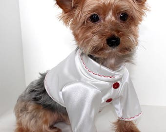 White Silk Bolero Dog Jacket with red stitching, So Cute - Runway Look 2017 Fashion Couture Dog Clothes