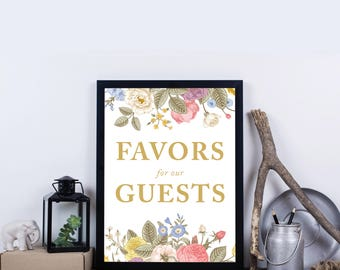 Favors for our Guests, Instant Download, Flowers, Floral Printable Wedding Sign, Well Wishes, Wedding Reception Sign – Everly