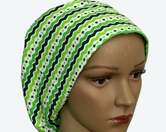 Euro Scrub Hat - St. Patrick's Day Scrub Hat for women - Slouchy hat with Clover Leaves Stripes