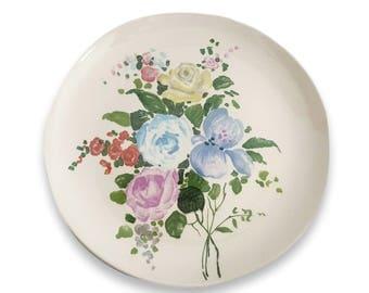 S/4 Vintage Villeroy & Boch Salad Dessert Plates / Heavier White Ceramic with Cottage Garden Rose Cottage Purple Blue Yellow Floral Pattern