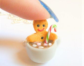 Food Jewelry, Gingerbread Man Necklace, Gingerbread Man in Hot Chocolate, Miniature Food Necklace, Xmas gift, Mini Food, Christmas Necklace