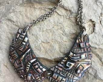 Steampunk Jewelry, Wings Necklace, Wearable art, Polymer Clay Jewelry, Handmade Jewelry, Dimensional Jewelry, Sculpted Necklace, Metallic