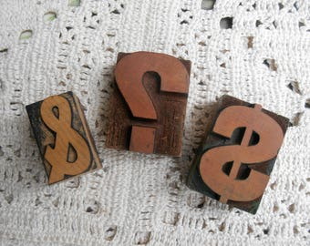 One Antique Wood Letterpress Block Printers Block Punctuation Ampersand, Dollar Sign, or Question Mark Punctuation Symbols Typography