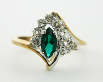 Asymmetrical Marquise Emerald CZ Cocktail Ring - VGE315