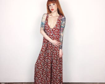 Vintage Floral Red and White Daisies Print 90's Suspender Tank Top Maxi Dress // Women's size Medium M Large L