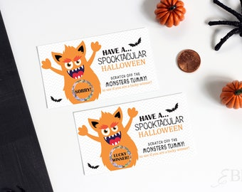 10 Halloween Monster Party Game Scratch Off Cards