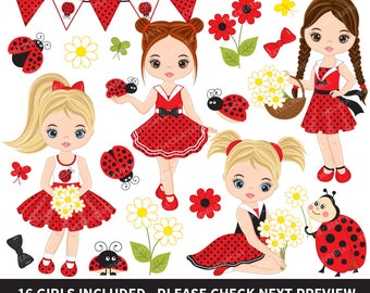 50% OFF SALE Ladybug Clipart - Vector Ladybird Clipart, Girls Clipart, Ladybug Girl Clipart, Ladybug Clipart, Ladybug Girls Clip Art