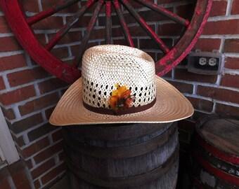 Vintage Bailey U-Rollit Straw Cowboy Hat - 1970's - from DustyMillerAntiques