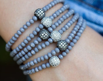 Crystal Bracelet, Stacking Bracelet, Beaded Bracelet, Stretch Bracelet, Stackable Bracelet, Silver Bracelet, Dainty Bracelet