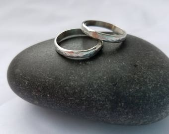 SET OF 2 THICK Textured Stacking Rings. Tarnish Resistant Argentium Sterling Silver. 935 silver. Made to Order. Free shipping.