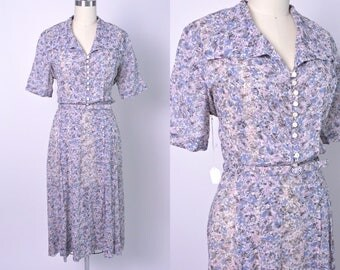 Vintage 1940s Dress 40s Sheer Cotton Floral Day Dress Size Medium Large