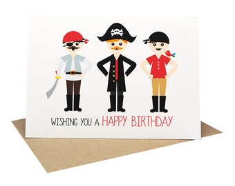 Birthday Card Boy - 3 Pirates - HBC243 | Wishing you a Happy Birthday for the Birthday Boy